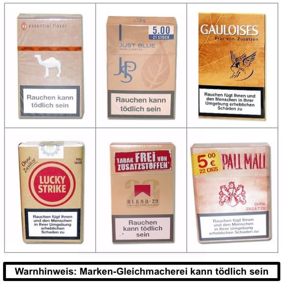 Zigarettenmarken - Zigaretten im Einheitslook: Ohne Zusatzstoffe = ohne Differenzierung - Markendifferenzierung, Markenführung