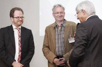 Markentechnik-Fallstudie auf dem Backkongress 2014: Henning Meyer und Olaf Knickrehm mit Moderator Werner D. Prill
